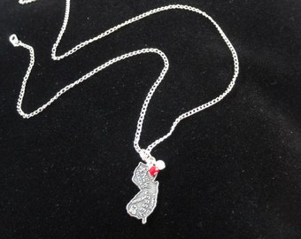 Rutgers Scarlet Knights Necklace- Vintage Sterling Silver New Jersey Map Charm, Red & White Beaded Pendant Necklace, New Jersey Charm