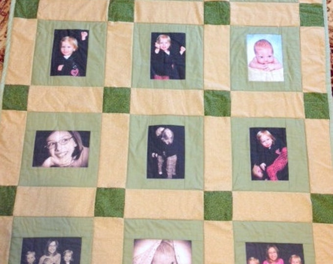 12 Photo Memory Quilt - Throw Size with decorative long arm quilting included