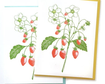 Box of 6 A2 size Strawberry Flower Cards, blank inside, pretty original botantical plant design, recycled paper, made in Portland Oreogn