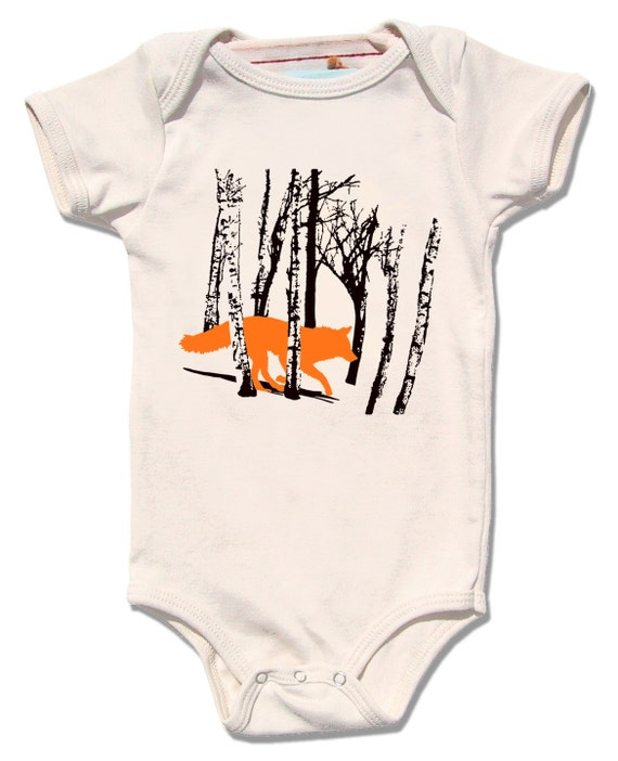 Organic Baby Clothes Fox esie Natural Baby by alittlelark