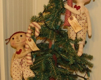 Primitive Doll pattern, Candy Cane with raggedy doll ornament, Christmas pattern, HFTH149