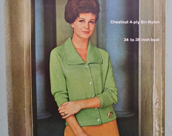 Vintage 1960s Knitting Pattern Women's Cardigan Jacket 60s original pattern Hayfield No. H/282 UK