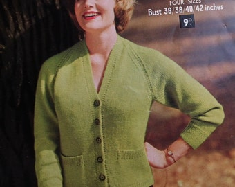 Vintage 1950s Knitting Pattern Womens Cardigan with pockets - 50s original pattern
