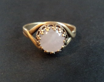 The Heart of the Forest - Rose Quartz and Brass Anti Tarnish adjustable ring
