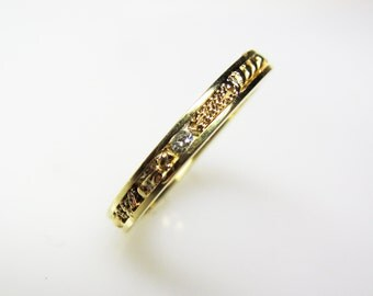 Diamond and Gold Particle Wedding Band