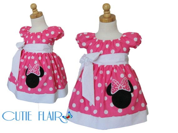 Minnie Mouse Pink   Polka dots Dress and white with Applique