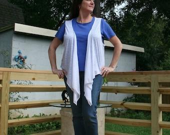 White Burnout Jersey Draped Vest - Boho Sleeveless Cardigan
