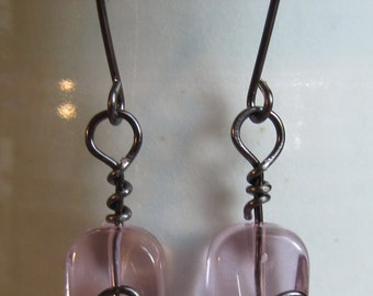 Wire Wrapped Pink Glass Bead Earrings