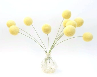 Felt Flower Arrangement, Gorgeous Yellow Wool, Fall Autumn Home Decorating, All Natural - 10
