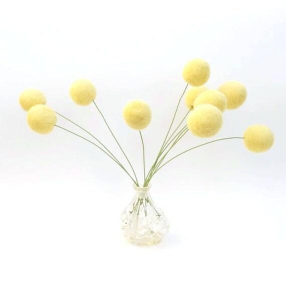 Felt Flower Arrangement, Gorgeous Yellow Wool, Fall Autumn Home Decorating, All Natural - 10