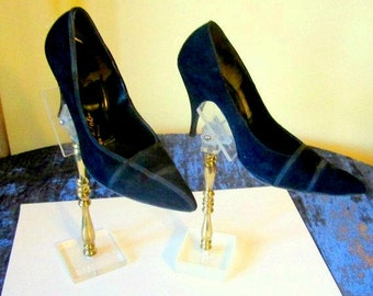 Designer Heel Shoes Vintage Piro Deb High Heels Black Suede Leather