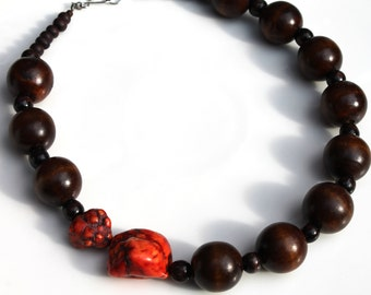 SALE Semi precious Red Howlite Wood Bead Handmade Necklace