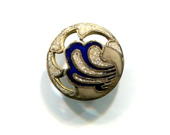 Antique Small Openwork Enamel Button