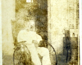 1930s Vintage Photograph of Man on Wheelchair / Disabled.