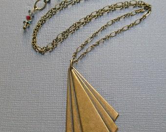 Art Deco Necklace - Geometric Necklace - Statement Necklace - Triangle Necklace - Rhinestone Neckace - DECO