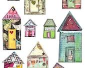 Mixed Media Printable Collage Houses Art Journaling  Ephemera