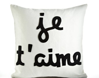 JE T'AIME - hemp canvas & recycled felt applique pillow 16 inch - more colors available