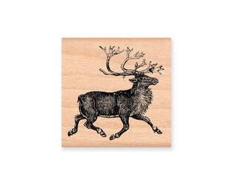 REINDEER RUBBER STAMP~Vintage Nordic Scandinavian Reindeer~Christmas Crafting~Two size Options~Wood mounted rubber stamp (29-12LG) (21-10SM)