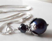 Navy Blue Pearl Necklace, Swarovski Pearl Pendant, Beaded Necklace, Bridesmaid Necklace, Navy Wedding Jewelry Sets, Bridesmaid Jewelry