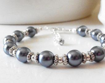 Dark Gray Pearl Bridesmaid Jewelry, Pearl Bracelet, Pewter Wedding Jewelry, Beaded Bracelet, Steel Grey Bridesmaid Jewelry, Silver Plated