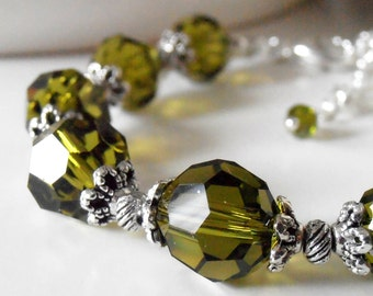Olive Green Bridesmaid Jewelry Faceted Crystal Beaded Bracelet Swarovski Crystallized Elements Olive Bridesmaid Sets Antiqued Wedding