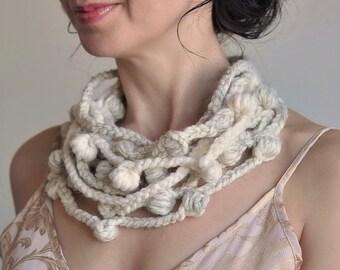 Fiber Art Jewelry Freeform Crochet Fiber Necklace Neckwear Multistrand Statement Necklace Wearable Art in cream ivory ecru - We Can Get Wild