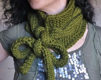 Twist Me Around - hand knit chunky cable neckwarmer knitted scarf collar cowl wrap neckwear with tie bow in olive green or CHOOSE YOUR COLOR