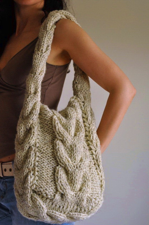 Knitting Pattern Cable Bag : Texture cable shoulder bag hand knit hobo designer crossbody