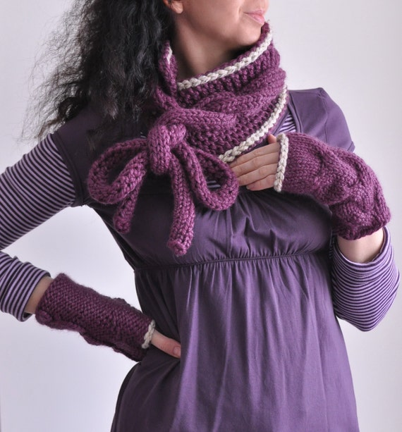 2 in 1 COMBO Hand knit chunky cable bow scarf wrap and fingerless gloves mittens SET with contrasting trim Wrap Yourself choose your colors