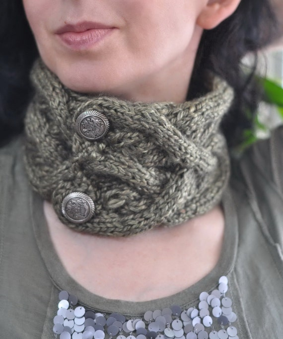 Celtic Heart hand knit neckwarmer headband earwarmer unisex cable scarf texture designer luxury fern green sage green or CHOOSE YOUR COLOR