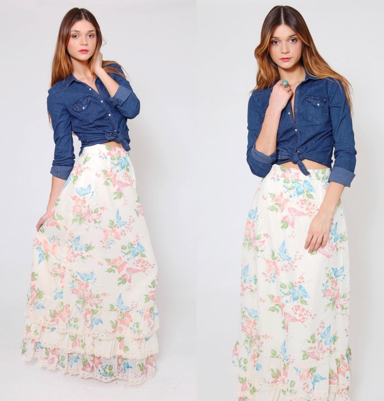 vintage 70s pastel maxi skirt butterfly flower print skirt