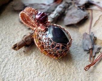 Wirewrapped Pendant Netted Bezel Hematite