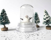 Tiny Snowman Snow Dome /  Snow Globe/ Winter Snow - poplaucard