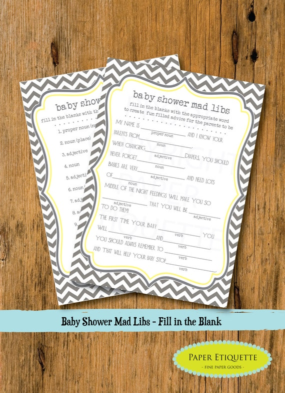 instant upload baby shower game mad libs gray chevron