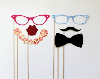 Photo Booth Props. Party Photo Prop. Ladies and Gents Photo booth Props. Little Retreats Set of Six