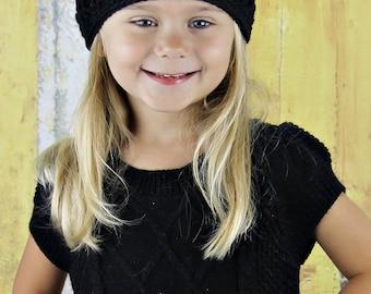 Toddler Girl Hats, Crochet Hat for Girls, Crochet Toddler Hat, Black, Little Girls Hat, MADE TO ORDER, Sophia Fashion Beanie