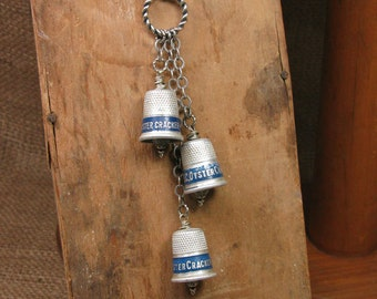 Sewing Themed Jewelry - Thimble Necklace - Seamstress - Vintage Triple OTC Oyster Cracker Advertising Thimble Lariat Style Necklace