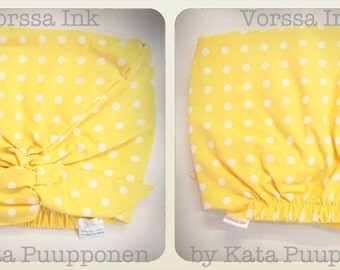 Pin Up Rockabilly style baby scarf  YELLOW polka dot