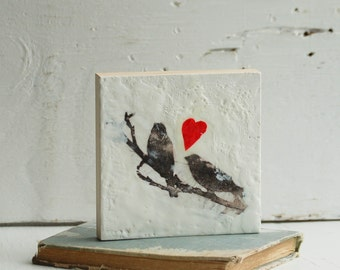 Lovebird LOVE Song Original Encaustic Painting BIRDS Black & White Lovebirds Wedding Gift
