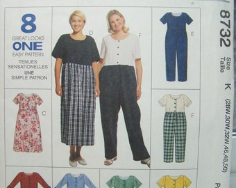 Plus Size Women's Dress and Jumpsuit McCall's 8732 Sewing Pattern 8 Great Looks Pullover Dress Jumpsuit or Shorts Easy to Sew Size 22W - 44