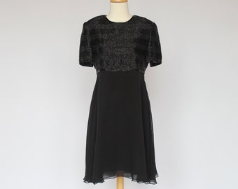 80's / 90's Black Beaded Silk Chiffon Dress / Short Sleeves / Talbots / Small
