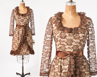 Vintage Lace Dress: 60s Brown Chantilly Lace Party Dress, Deadstock NWT, Women's Clothing, Dresses