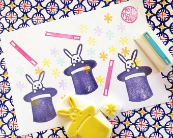 abracadabra rubber stamps. magic bunny hand carved rubber stamp. magic wand, star, magic hat. birthday card making. holiday crafts. set of 3