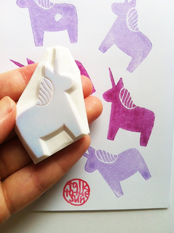 Unicorn rubber stamp hand carved by