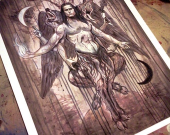 As Wolf As Man As Demon -  Occult Art Giclee Samhain baphomet print limited to set of 138