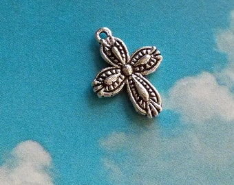 10 rounded cross charms with raised details, double sided, silver tone, 18mm