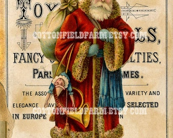 Old World Santa on Vintage Christmas Toy Sign Digital Sheet C-503 Large 5 X 7  for Pillows, Aprons, Totes, Stockings, Decoupage, ECS,