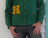Think Green! Humbolt High Vintage Wool Ladies Basketball Letter Man Sweater Cheerleader M/L - wyomingvintage