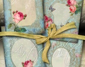 5x3.5 inch size images PALE BLUE BEAUTY Digital Collage Sheet Printable Victorian Vignettes print-it-yourself Vintage Greeting Cards ArtCult