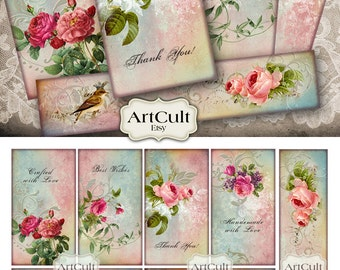 Printable Download images APPRECIATION TAGS Digital Collage Sheet Vintage ephemera paper, Jewelry Holders, decoupage designed by ArtCult